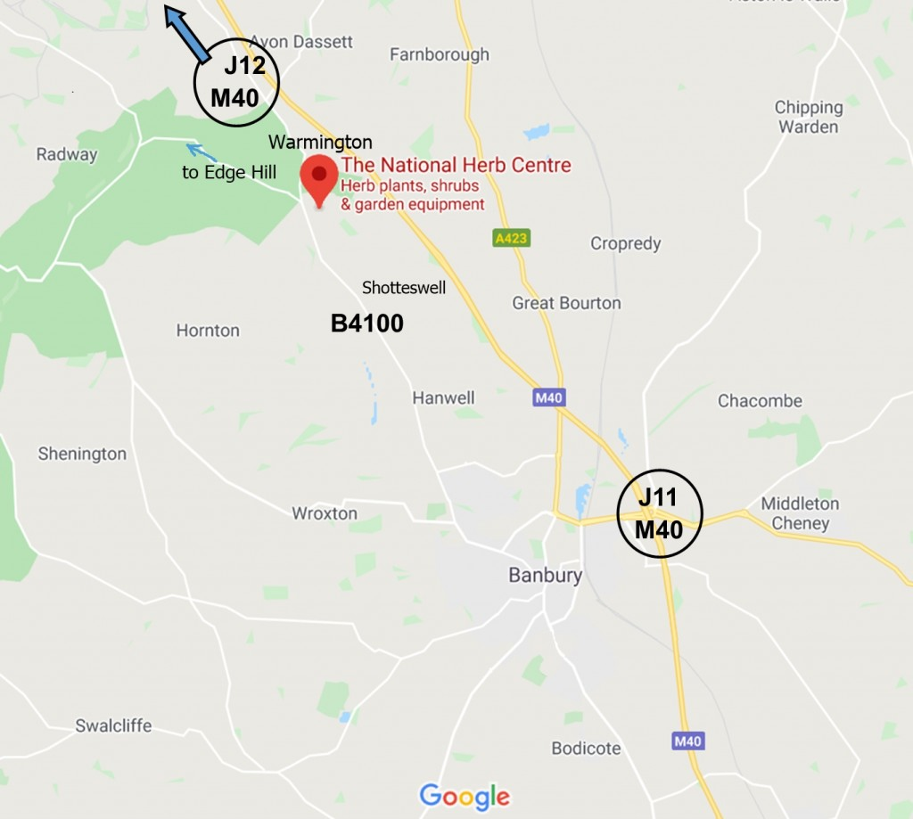 National Herb Centre - map  24-8-2020 - incl Warmington Edge Hill Shotteswell - jpg