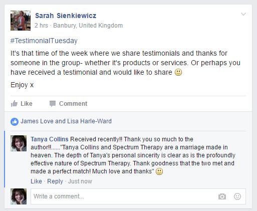 5-4-2016 - Client testimonial shared to HealerzoneOxfordshire